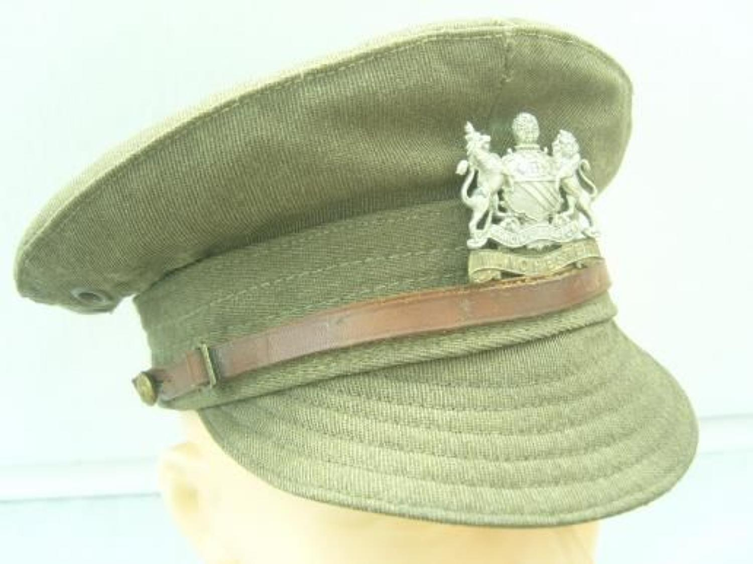BRITISH ARMY 1918 DATED DENIM TRENCH CAP