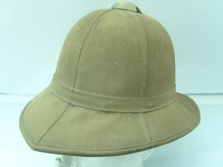 WW1 British Khaki Drill Pith Helmet. Named soldier.