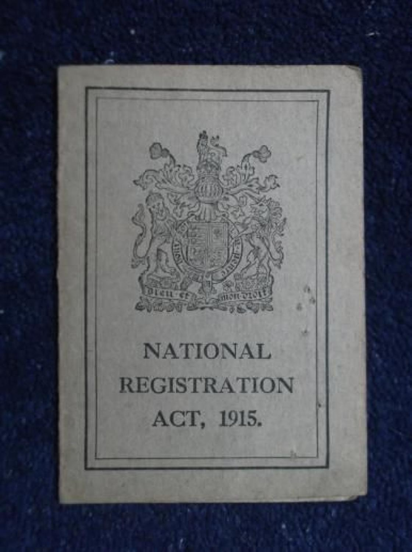 1915 National Registration Card : George Cox Coachman