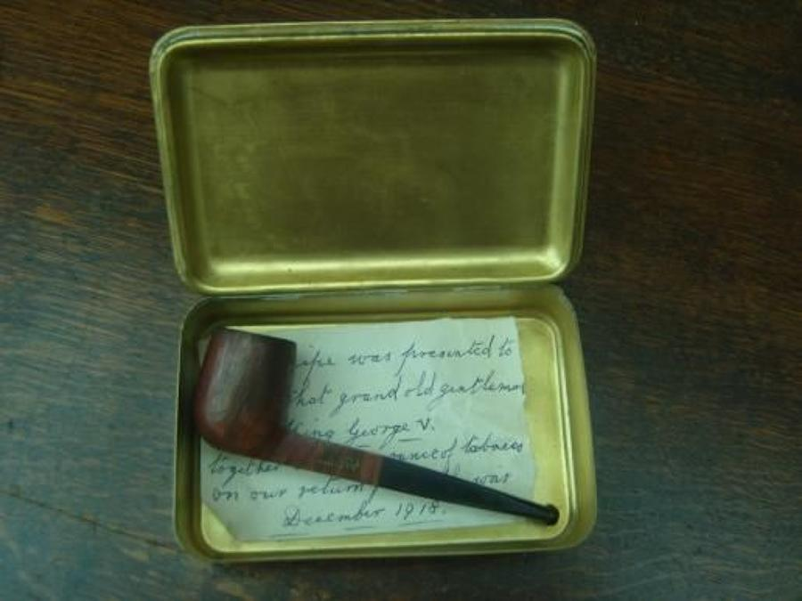 WW1 PRINCESS MARY CHRISTMAS 1914 TIN & PIPE