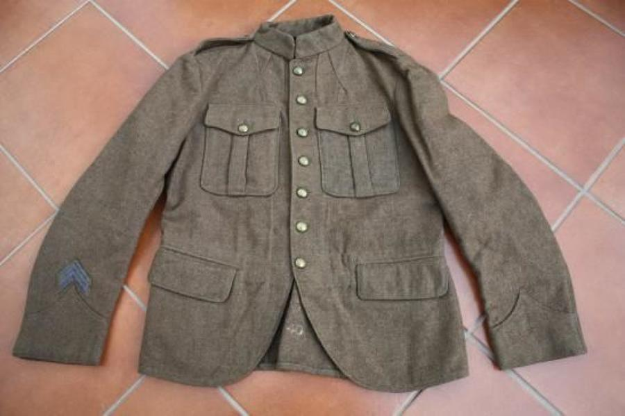 WW1 RARE 1913 PATTERN OTHER RANKS CANADIAN 'SCOTTISH' SEVEN BUTTON SERVICE DRESS TUNIC.