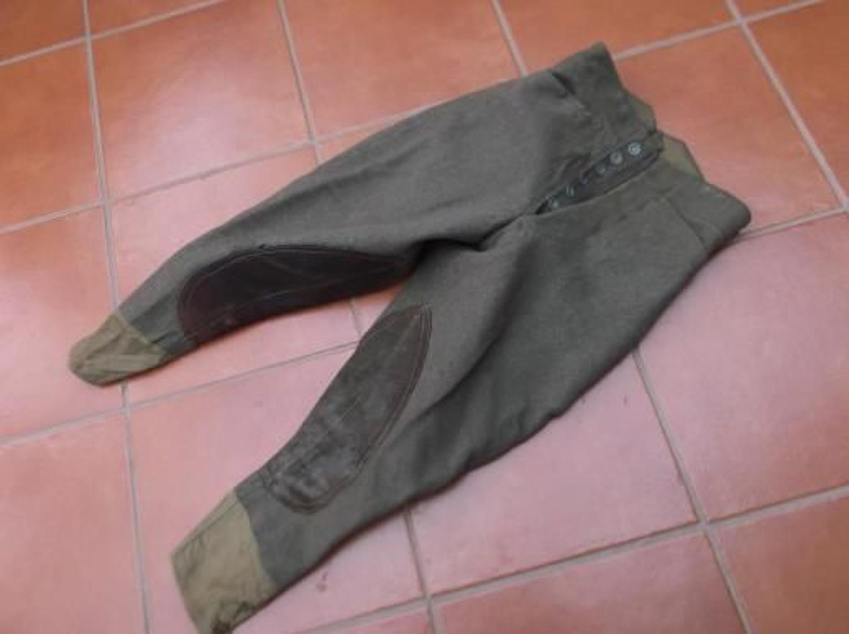 WW1 British Genuine Khaki thick Wool Other Ranks Breeches.