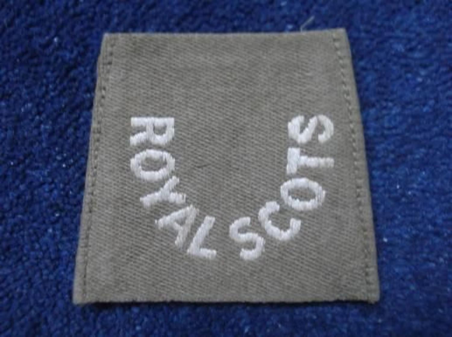WW1 BRITISH ROYAL SCOTS SLIP ON SHOULDER TITLE