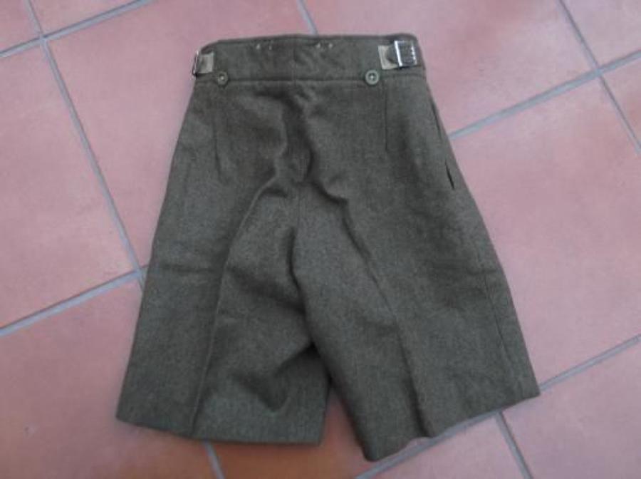 British Army Khaki Serge Wool Service Dress shorts. WW1 Pattern.