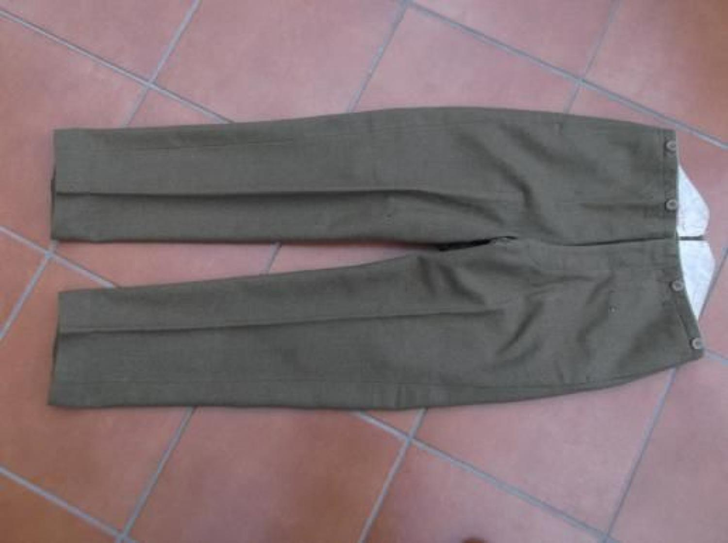 NAMED WW1 BRITISH ARMY OFFICERS SERVICE DRESS TROUSERS