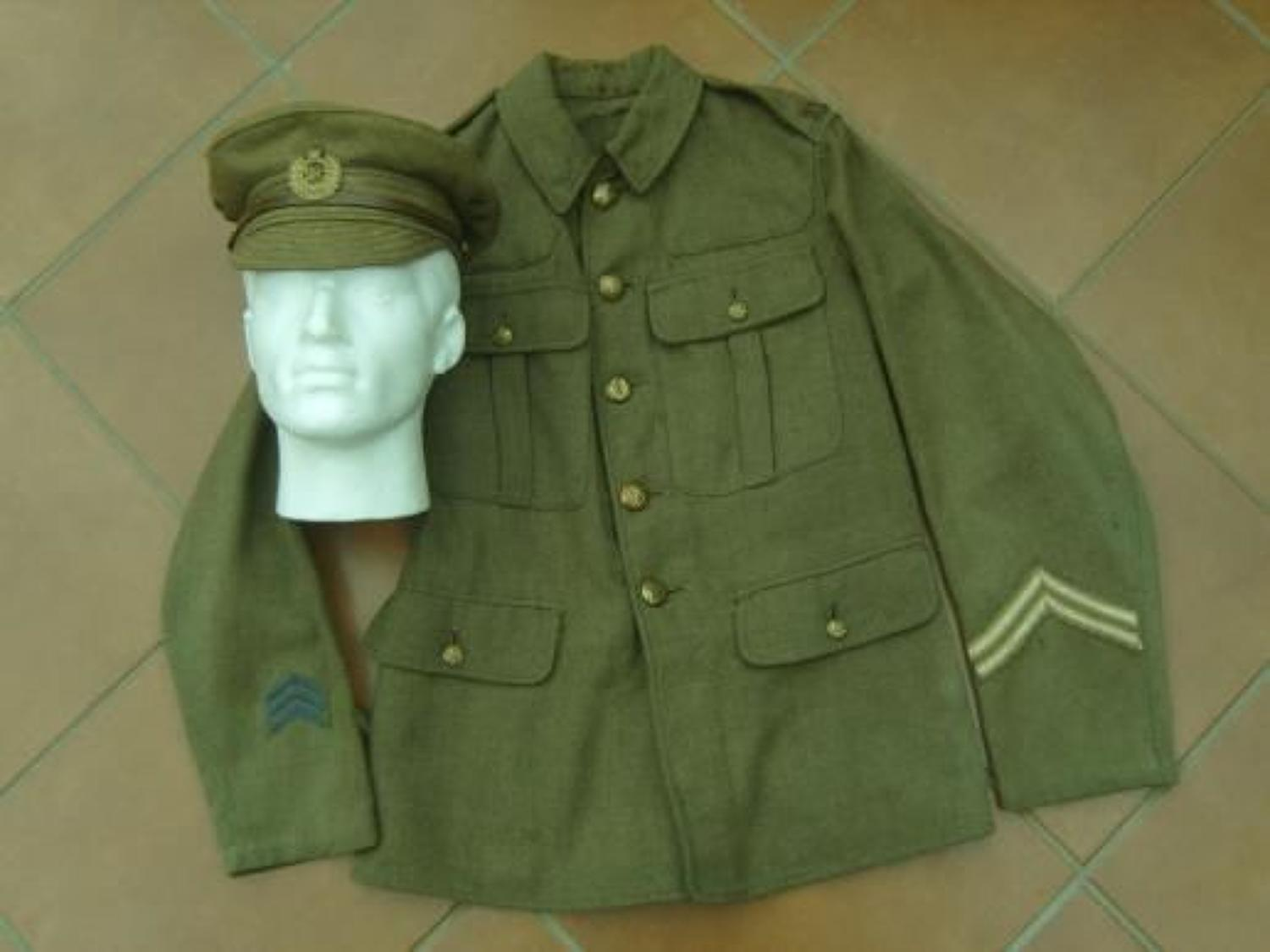 WW1 Royal Engineers British Other Ranks Tunic & Trench Cap to one man.