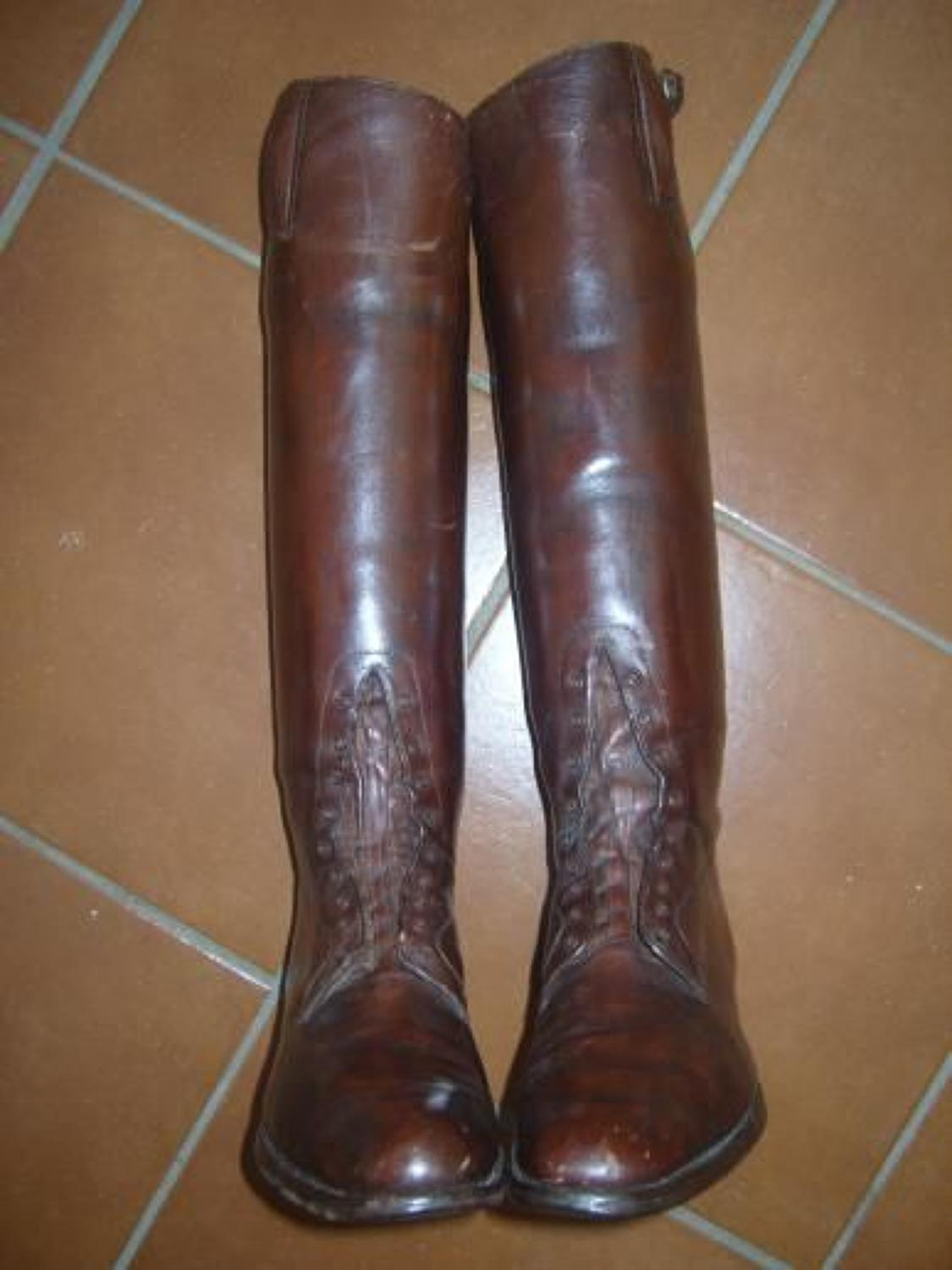WW1 BRITISH ARMY OFFICERS HIGH LEATHER BOOTS