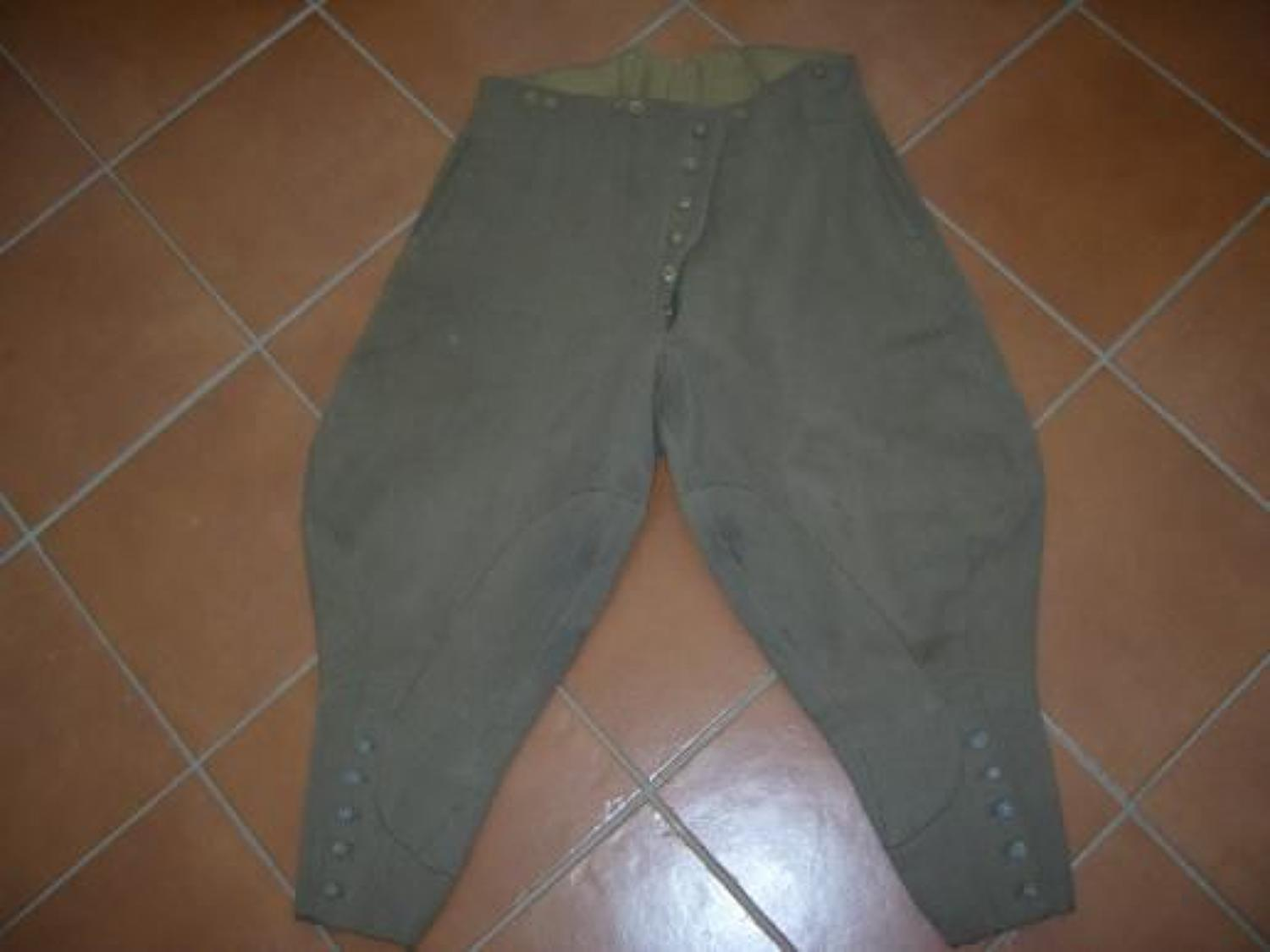 WW1 BRITISH ARMY OFFICERS SERVICE DRESS BREECHES