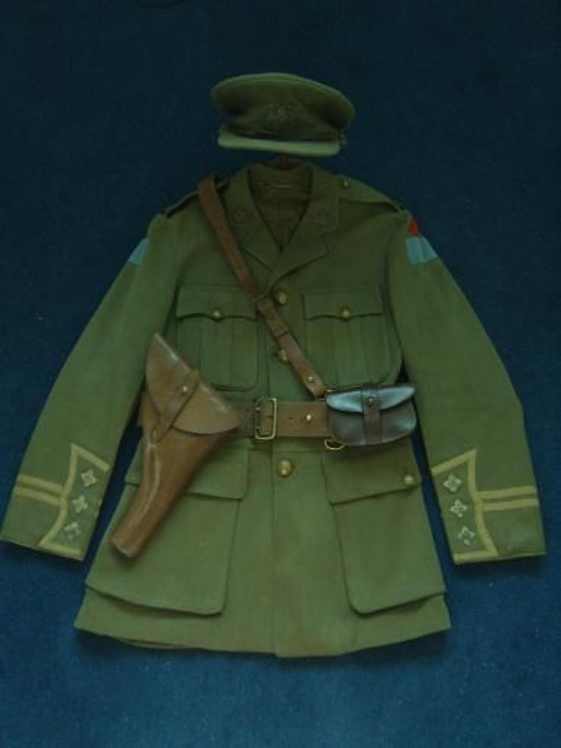 CANADIAN CUFF RANK TUNIC, CAP. HOLSTER, AMMO POUCH, BELT & WATCH