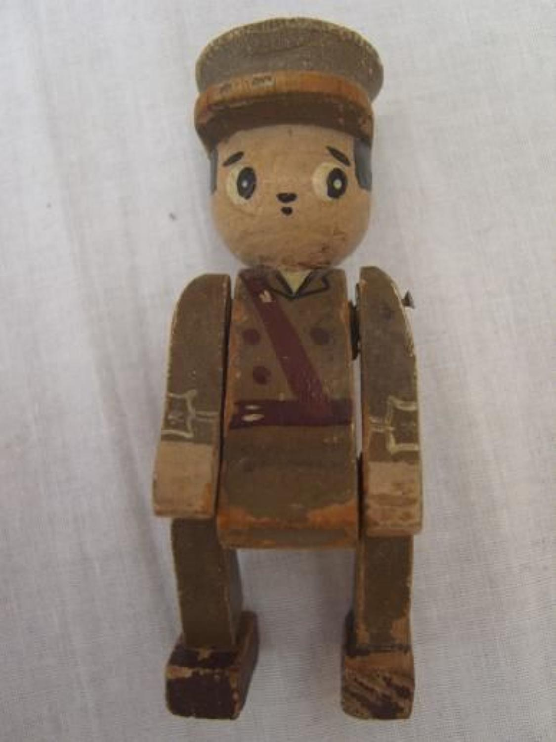 WW1 WOODEN TOMMY BRITISH OFFICER SOLDIER DOLL