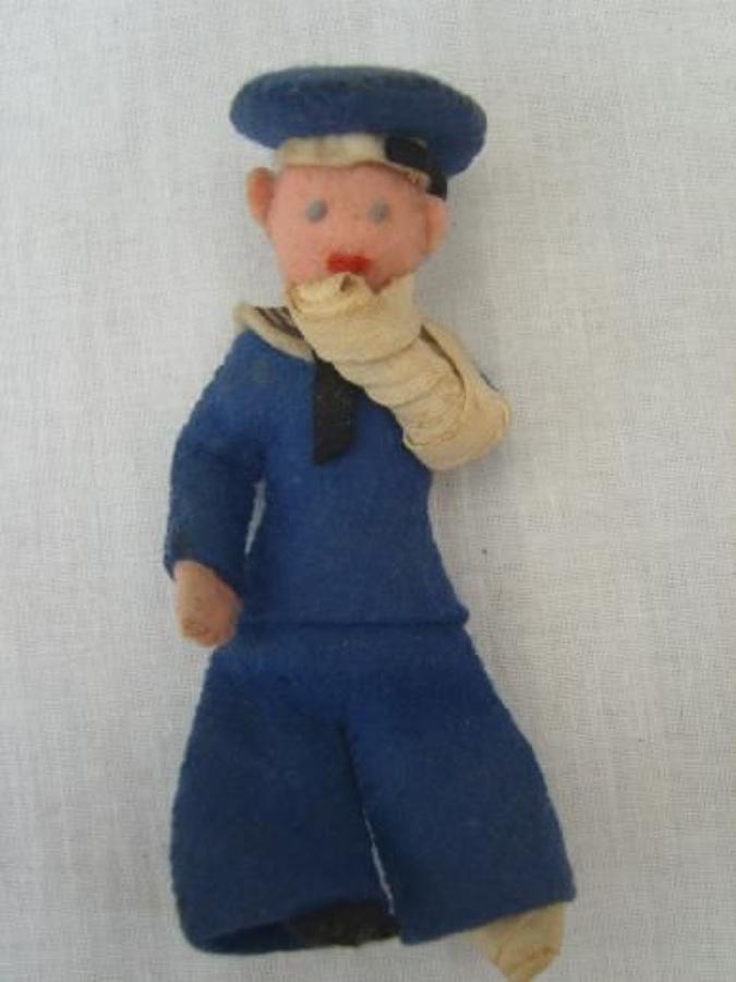 WW1 CLOTH WOUNDED JACK TAR SAILOR DOLL