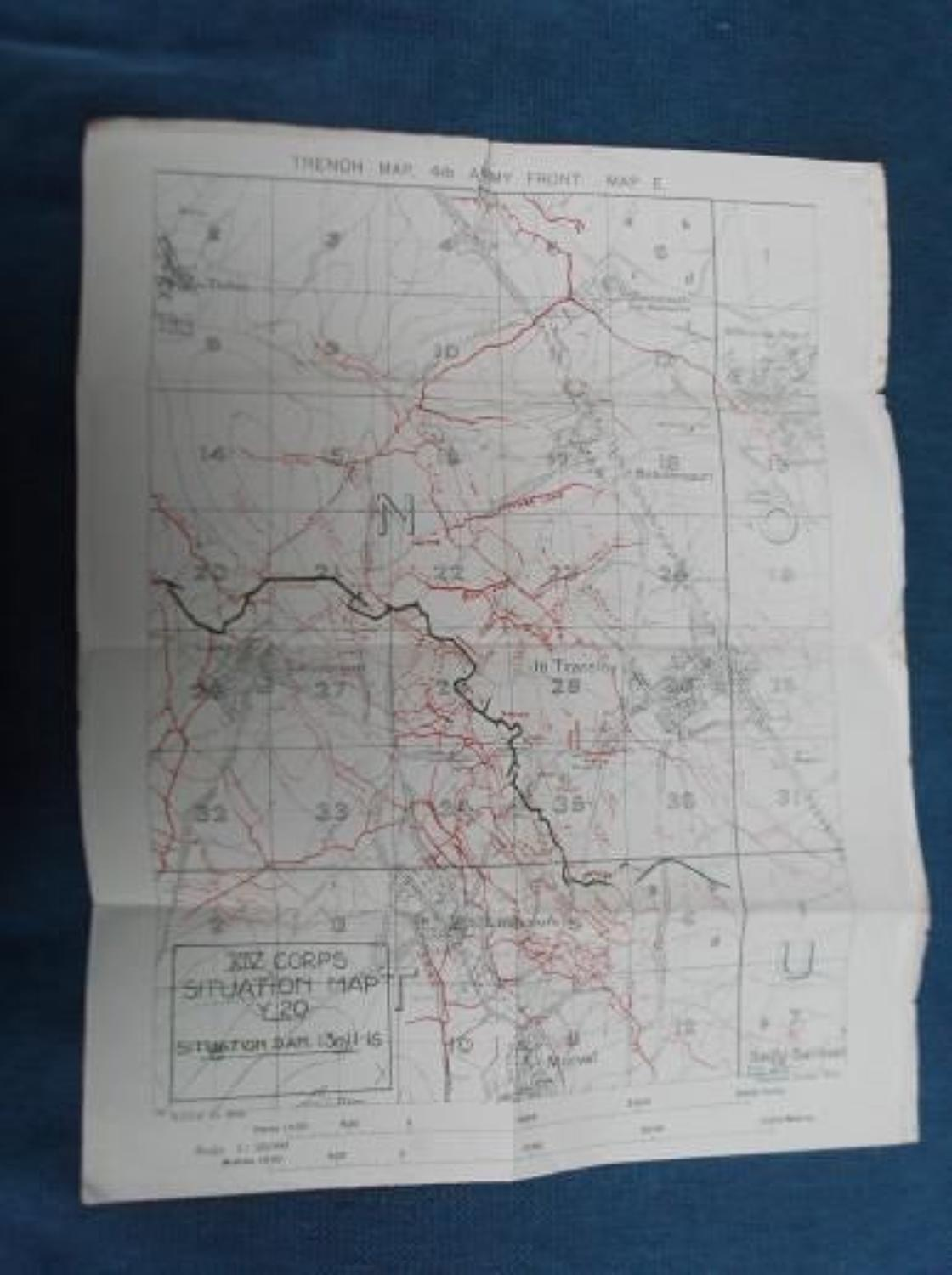 WW1 British Army Trench Map Gueudecourt 13th November 1916.