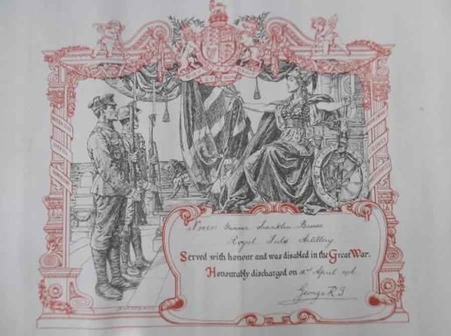 WW1 DISCHARGE CERTIFICATE: ROYAL FIELD ARTILLERY F. Bruce