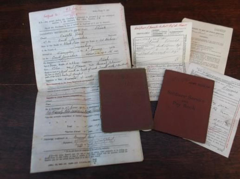 WW1 British Army Service & Pay Book & Documents: Oswald Sant