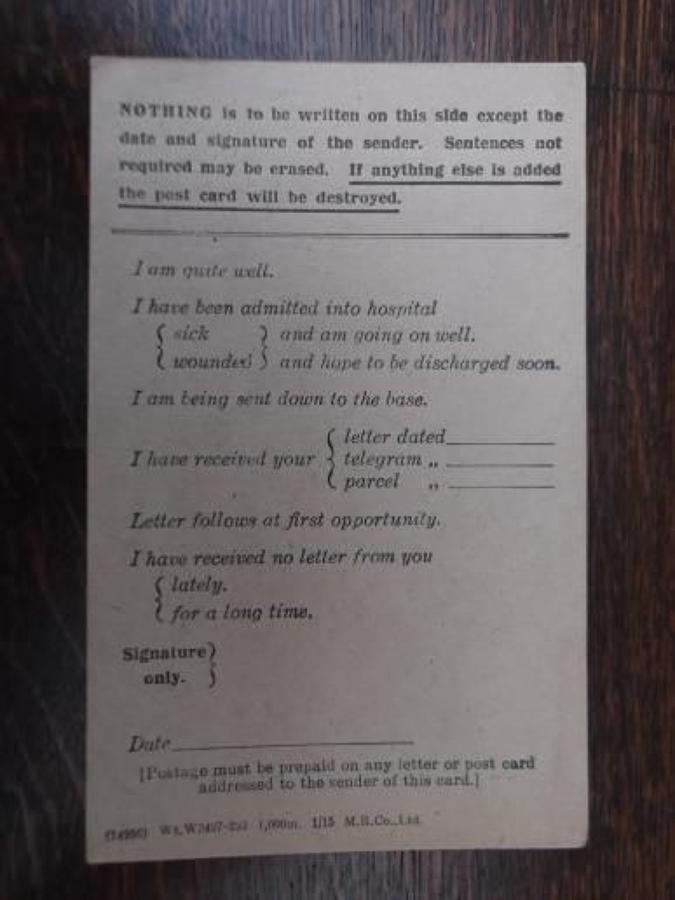 WW1 BRITISH ARMY FIELD SERVICE CARD UNUSED