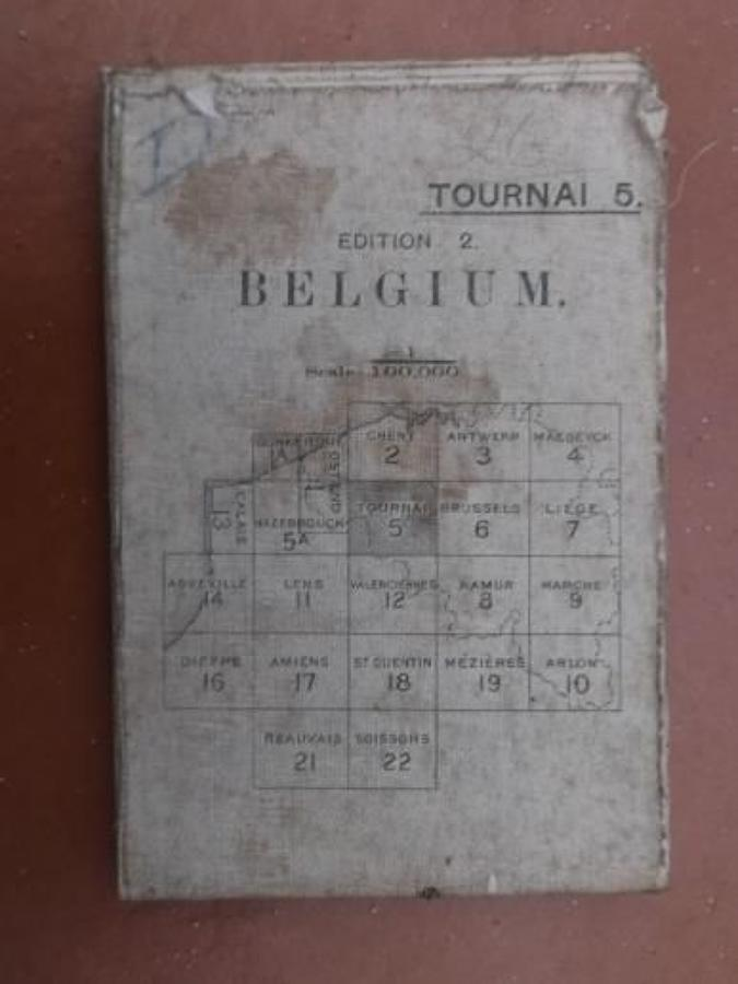 WW1 British Linen Ordnance Survey Map of Tournai Belgium