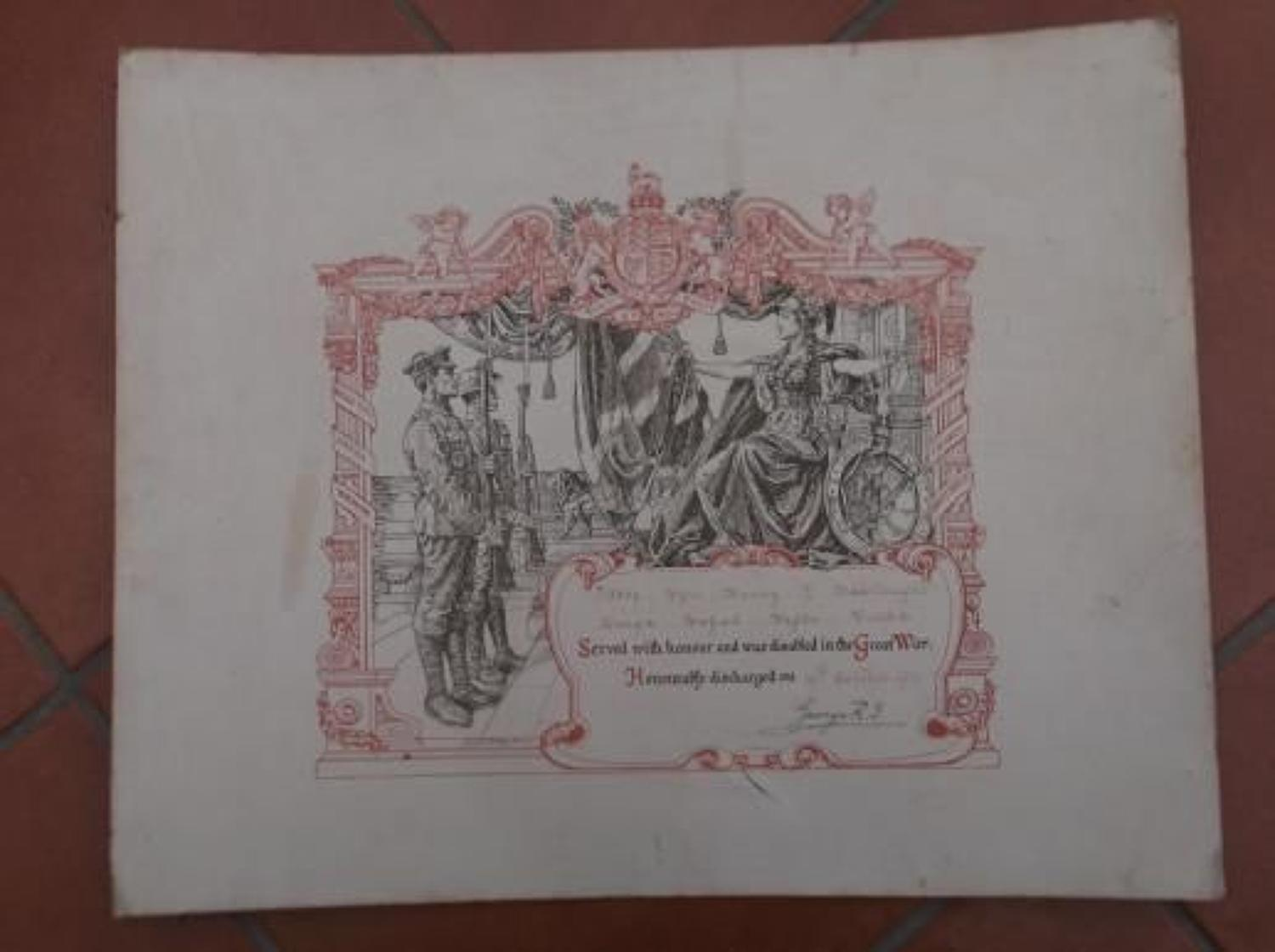 WW1 DISCHARGE CERTIFICATE: KINGS ROYAL RIFLE CORPS