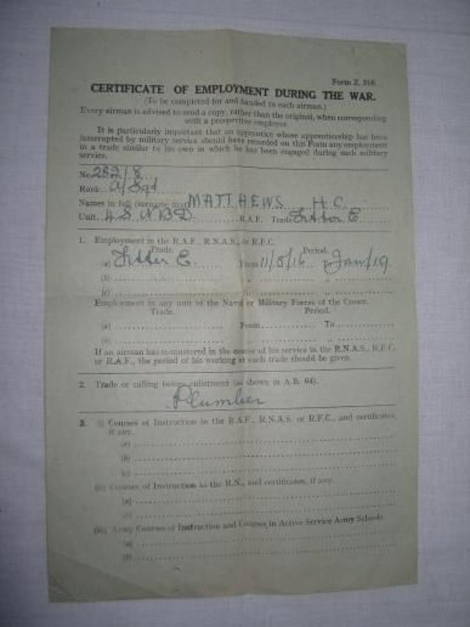 WW1 CERTIFICATE OF EMPLOYMENT RAF/ RFC