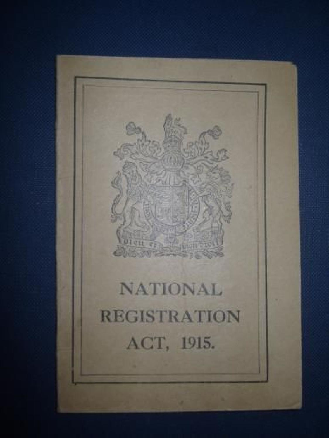WW1 1915 NATIONAL REGISTRATION ACT CARD