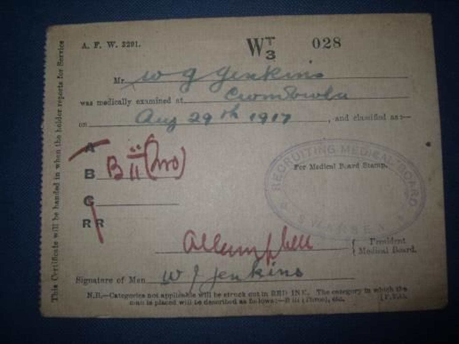 WW1 1917 DATED RECRUITING MEDICAL CARD
