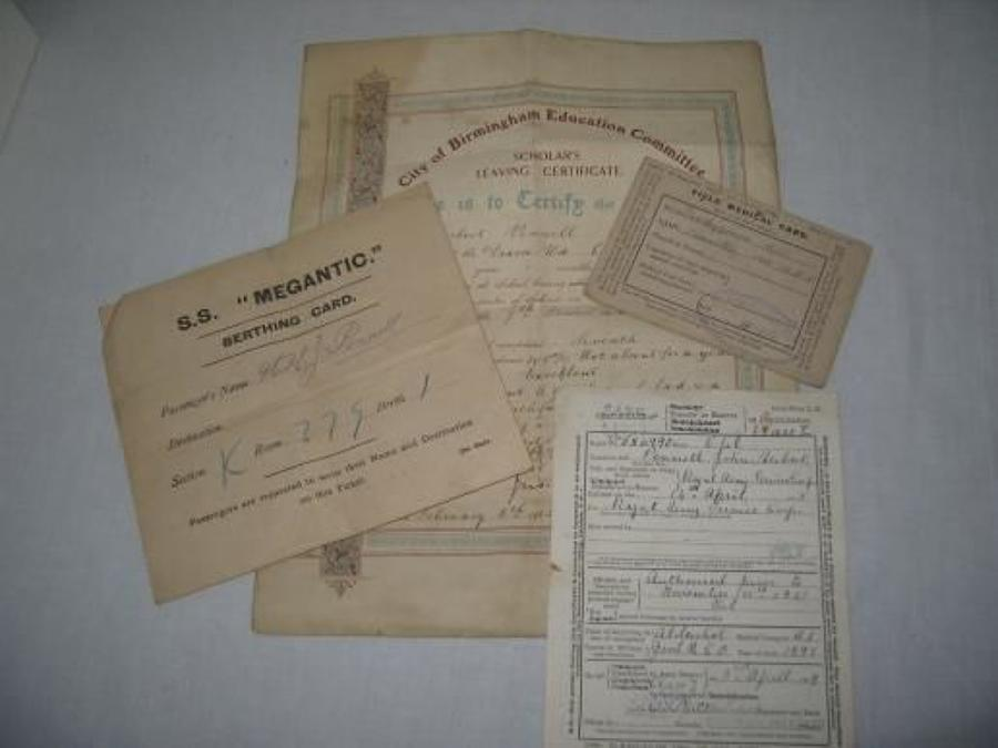 WW1 FIELD MEDICAL CARD, HOSPITAL SHIP BERTHING CARD ETC.