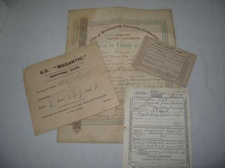 WW1 FIELD MEDICAL CARD, HOSPITAL SHIP BERTHING CARD ETC.