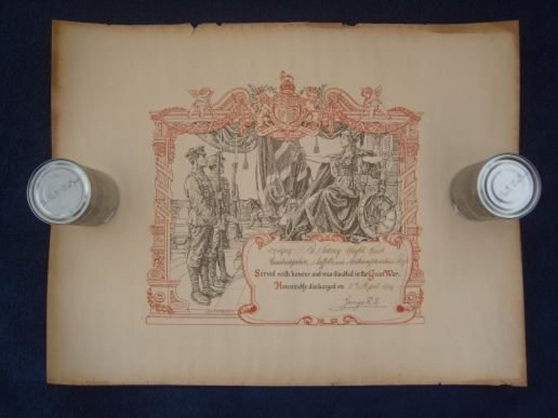 WW1 DISCHARGE CERTIFICATE: CAMBRIDGESHIRE REGIMENT