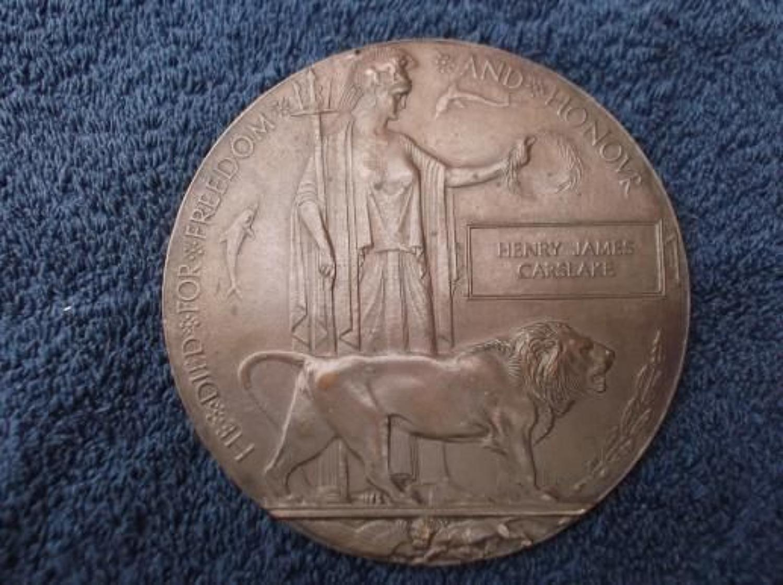 Death Plaque: Royal Field Artillery: November 10th 1918