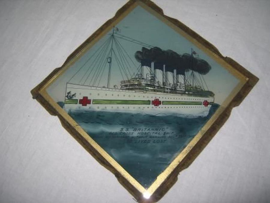 BRITTANIC SISTER TO THE TITANIC HOSPITAL SHIP GLASS PLATE.