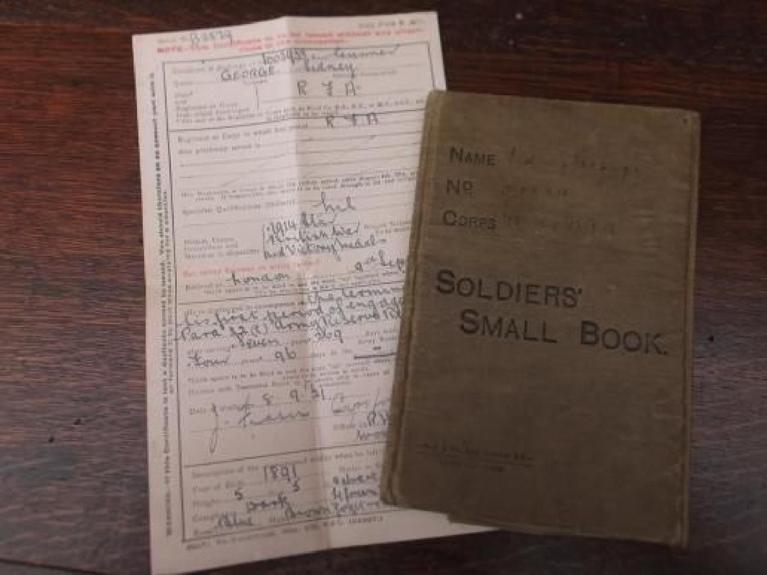 WW1 SOLDIERS SMALL BOOK & DISCHARGE CERTIFICATE