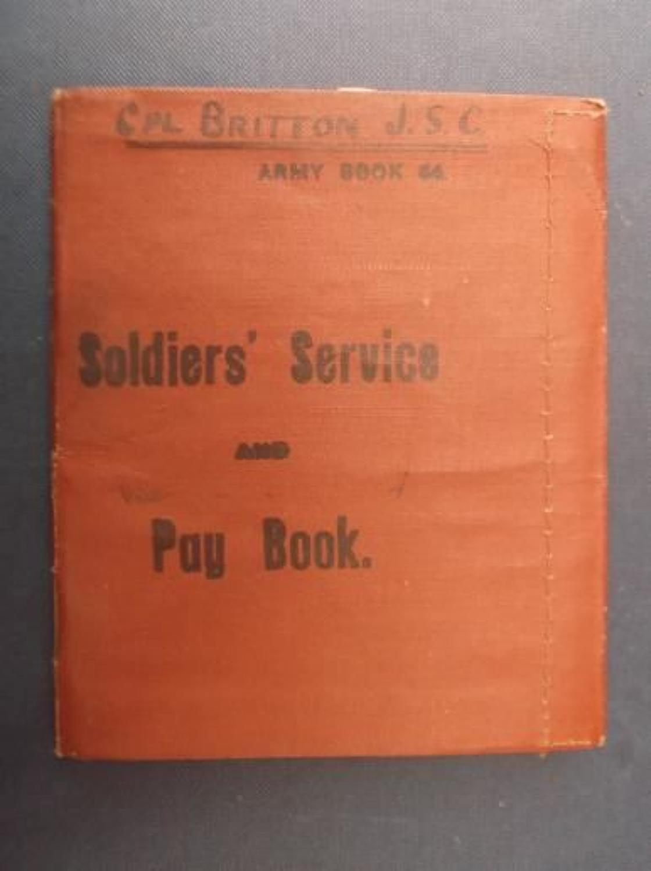 WW1 British Army Pay Book: John Sidney Britton