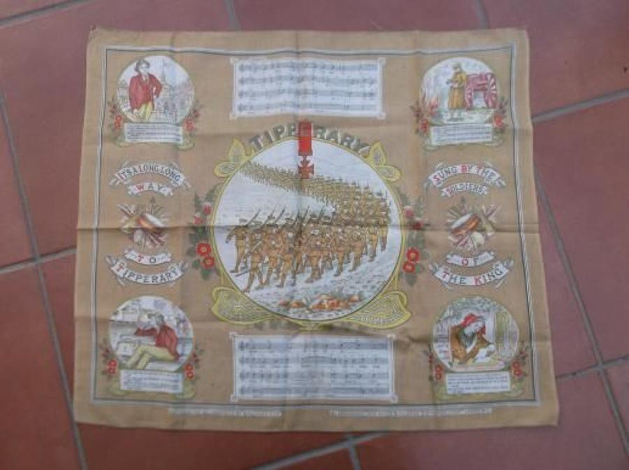 WW1 printed cotton souvenir handkerchief: Long Way to Tipperary