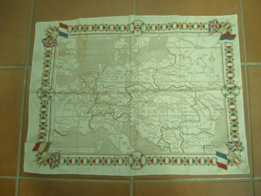 WW1 printed cotton souvenir handkerchief: Map of Europe.