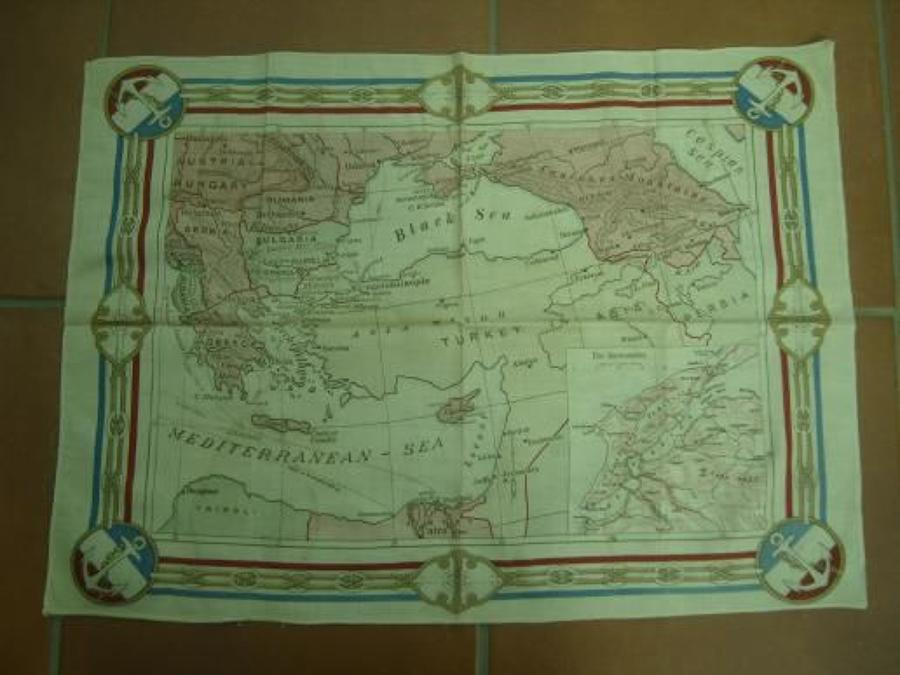 WW1 printed cotton souvenir handkerchief Map of Gallipoli.