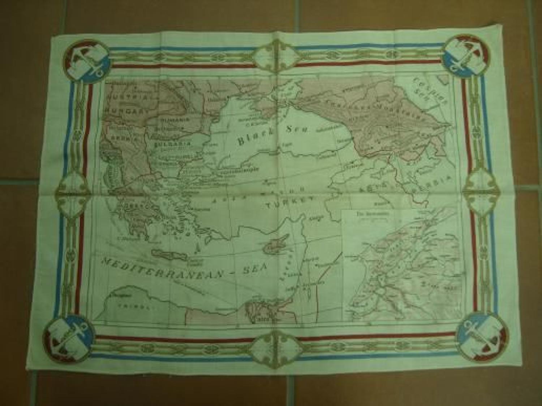 WW1 printed cotton souvenir handkerchief Map of Gallipoli.