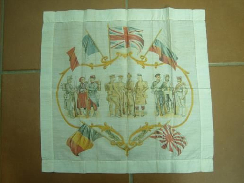 WW1 printed cotton handkerchief : Allied soldiers