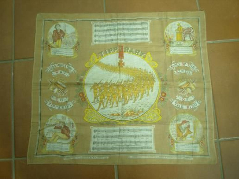 WW1 printed cotton souvenir handkerchief: Tipperary
