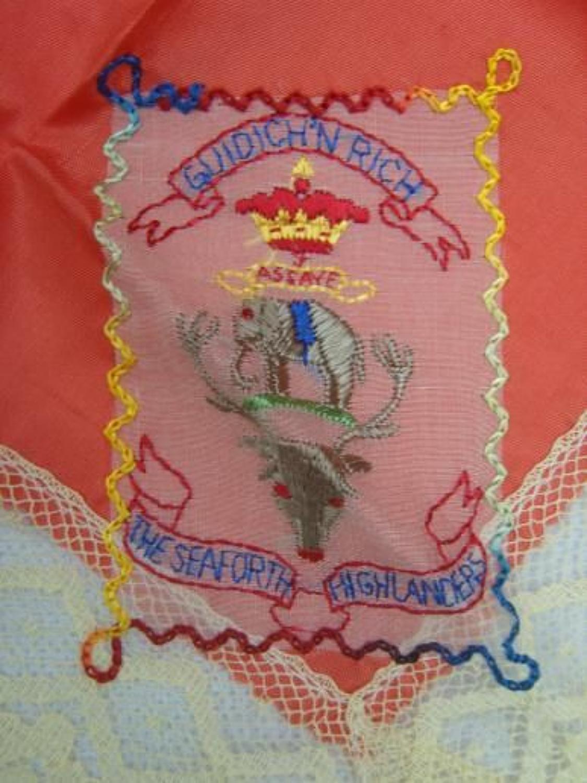 WW1 Embroidered silk handkerchief: Seaforth Highlanders