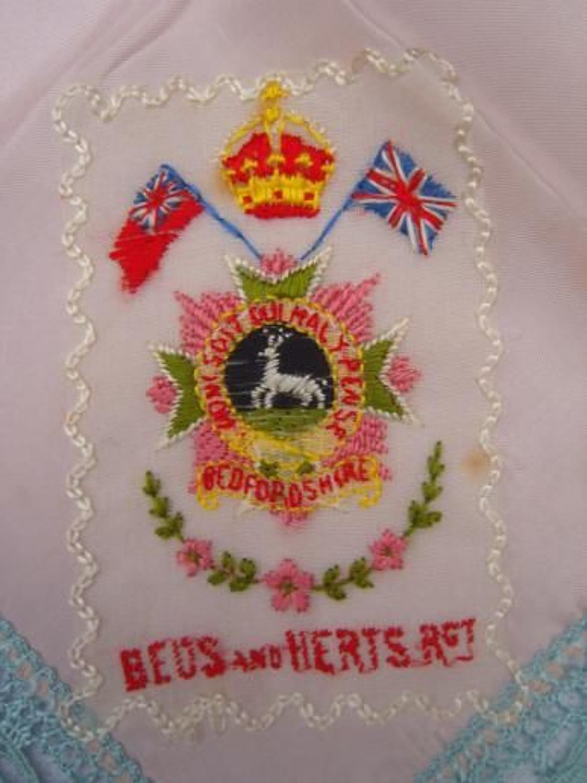 WW1 Embroidered silk handkerchief: Beds & Herts