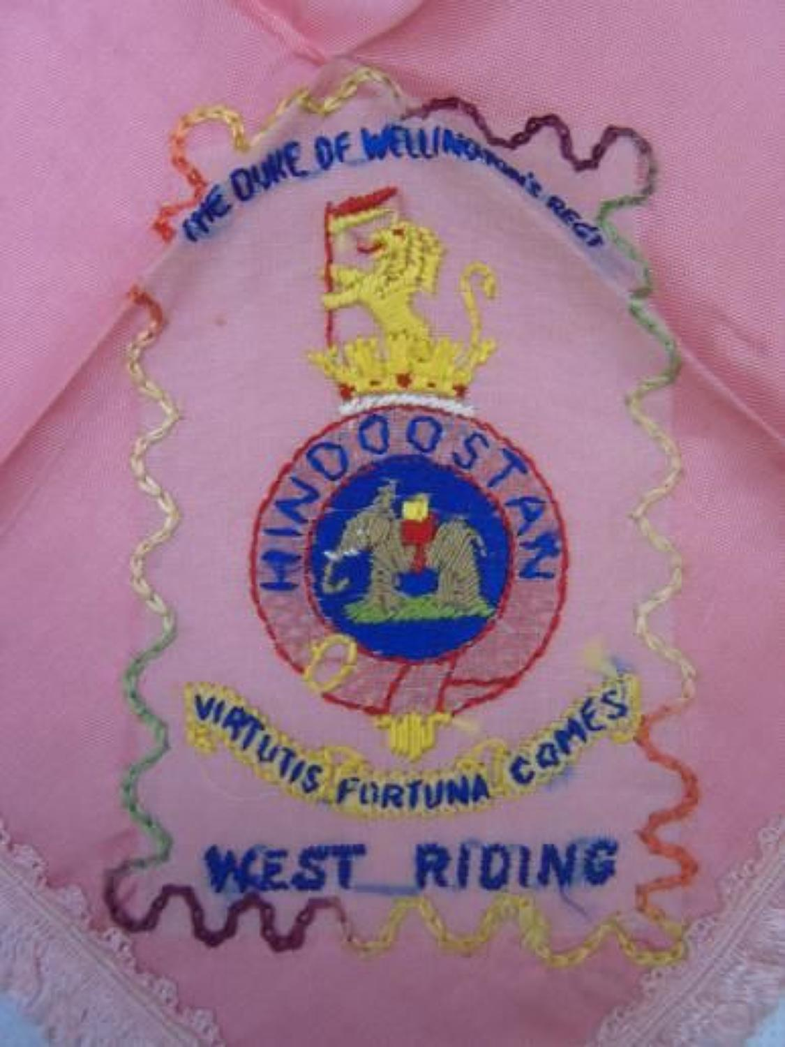 WW1 Embroidered silk handkerchief: West Riding Regiment
