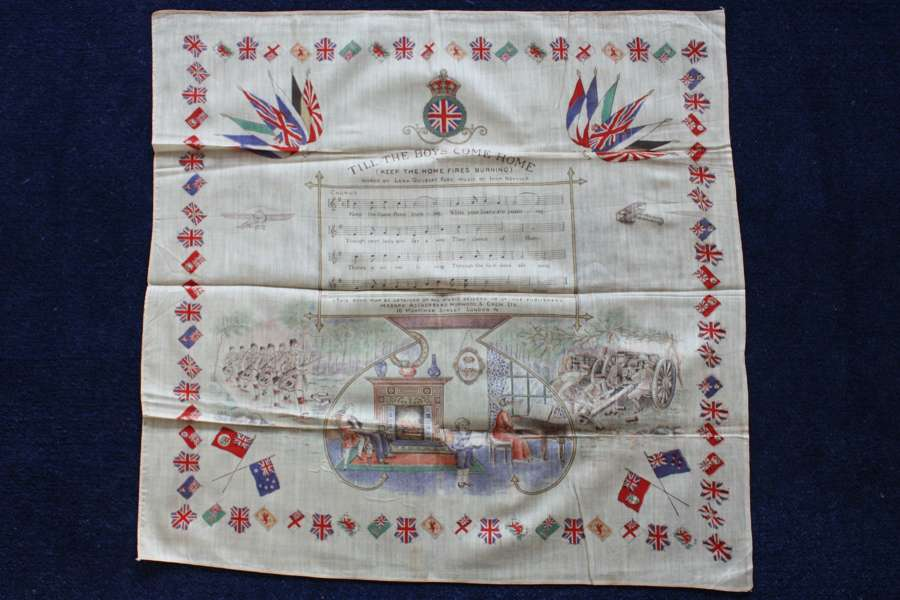 WW1 printed cotton souvenir handkerchief : Keep the Home Fires Burning
