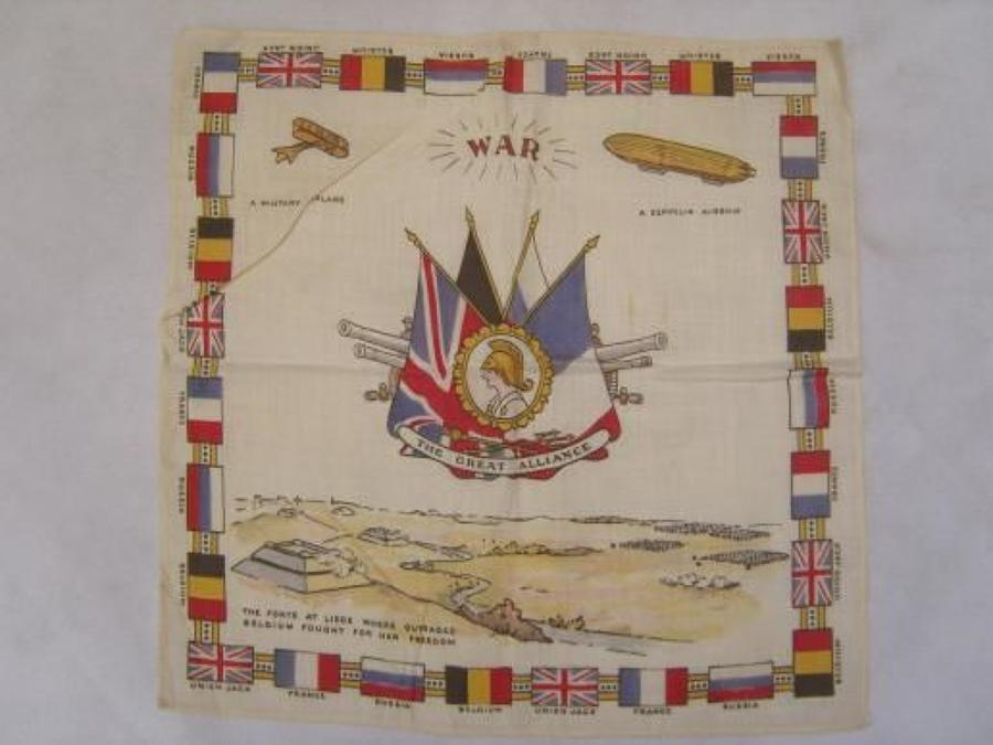 WW1 printed cotton souvenir handkerchief: War The Great Alliance