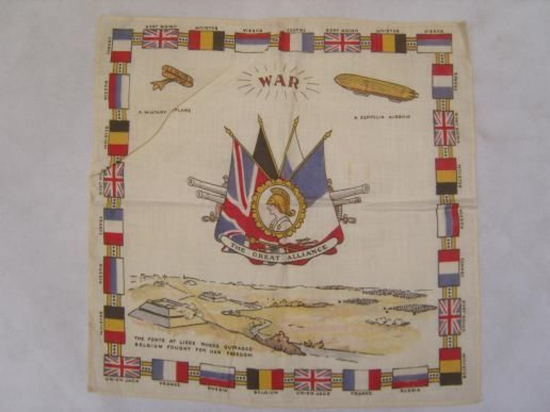 WW1 printed cotton souvenir handkerchief: War The Great Alliance