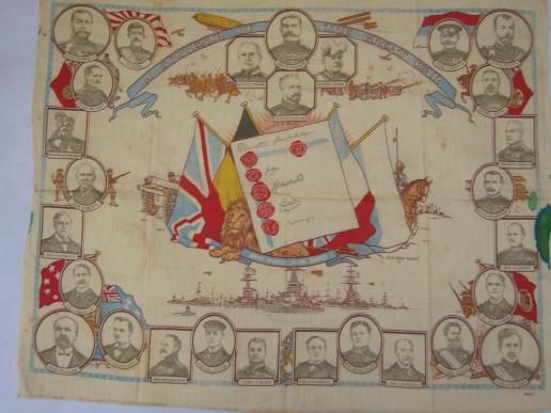 WW1 printed cotton souvenir handkerchief  Souvenir of The Great War
