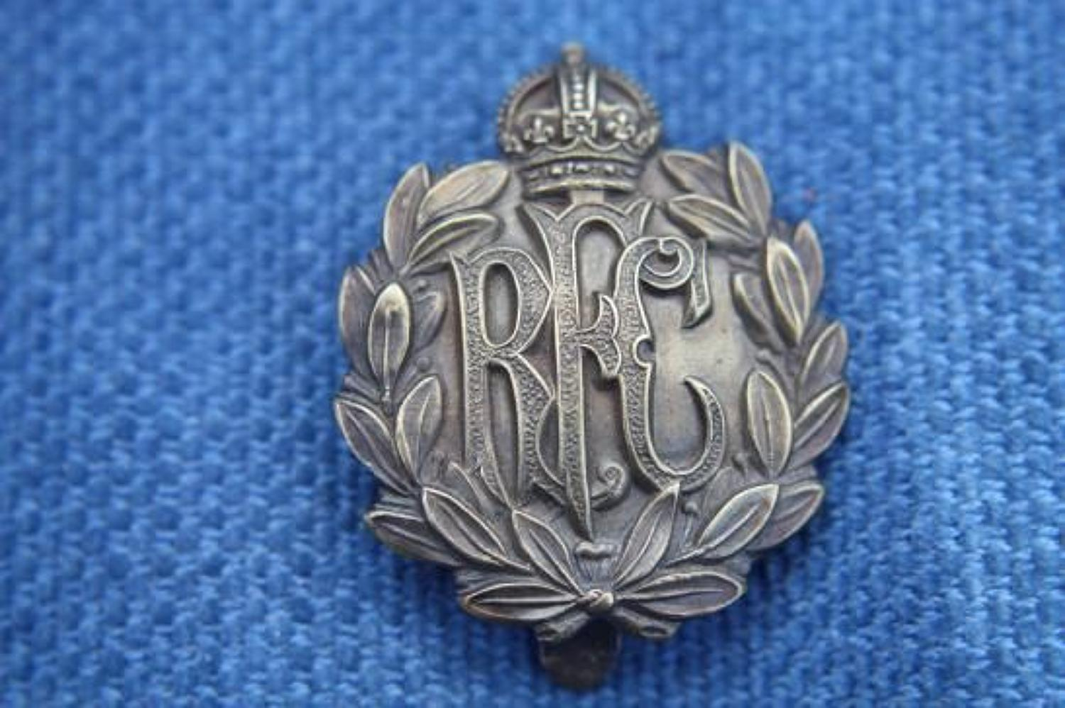 WW1 RFC Non - Voided Airmans Other Ranks Brass Cap badge.