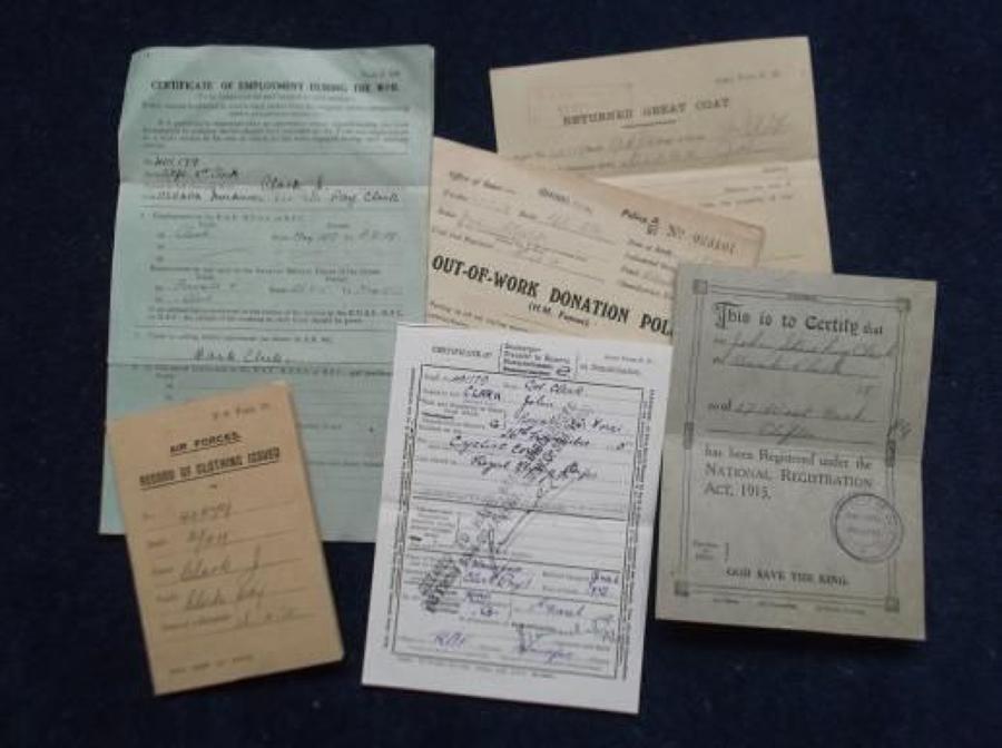 WW1 RFC Paperwork to Corporal John Clark.