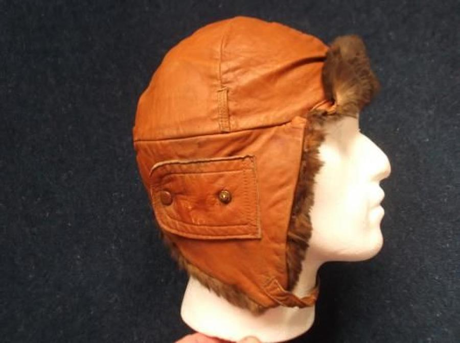 BRITISH WW1 LEATHER FLYING HELMET CAMEL COLOUR