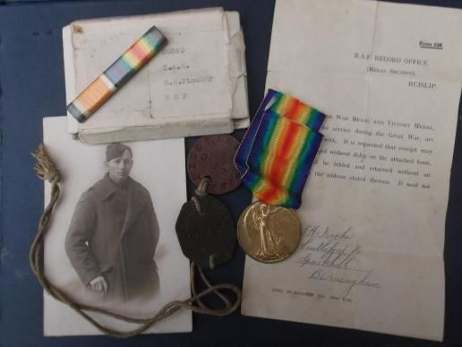 RFC I'D TAGS, VICTORY MEDAL, MEDAL FORM 238 & Photo