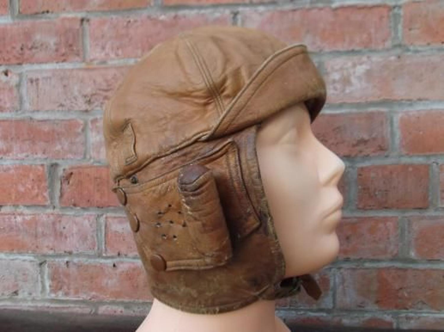 BRITISH WW1 MARK 1: RFC LEATHER FLYING HELMET