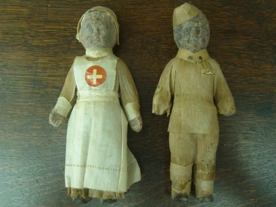 WW1 CHOCOLATE SOUVENIR DOLLS. RFC PILOT & NURSE